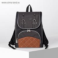 Рюкзак школьный, отдел на молнии, наружный карман, 2 боковых кармана, цвет чёрный/синий
