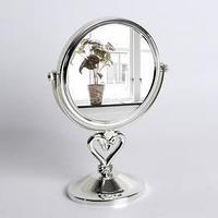 Зеркало настольное, двустороннее, с увеличением, d зеркальной поверхности 14,5 см, цвет серебряный