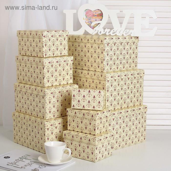 """Набор коробок 10 в 1 """"Дамаск"""", 30,5 х 25,5 х 16,5 - 12,5 х 7,5 х 7,5 см - фото 1"""