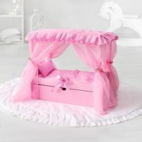 Игрушка детская кроватка с царским балдахином, постельным бельем и выдвижным ящиком, цвет розовый