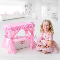 Игрушка детская кроватка с царским балдахином, постельным бельем и выдвижным ящиком, цвет белый