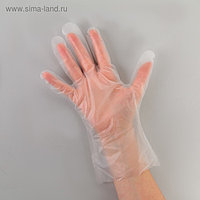 Перчатки одноразовые, размер M, ТПЭ, 100 шт/уп