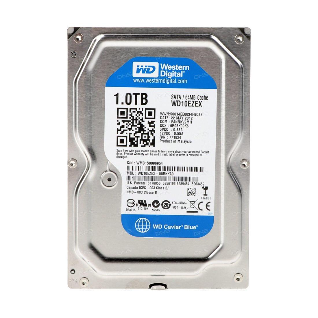 "Жёсткий диск HDD 1Tb Western Digital Blue 7200pm 64Mb 3,5"" WD10EZEX"