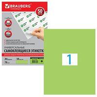 Этикетка самоклеящаяся на листе формата А4, 1 этикетка, 210 х 297 мм, зелёная, 50 листов