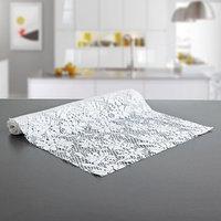 Коврик противоскользящий сервировочный 'Цветы', 30x100 см, цвет белый