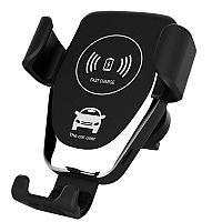 Автомобильный держатель с беспроводной зарядкой  Wireless Car Mount Charger black WXYL-С1 (решётка), фото 1