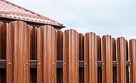 Металлический штакетник «Евротрапеция» 118мм. Покрытие: Printech (дерево, кирпич, камень))