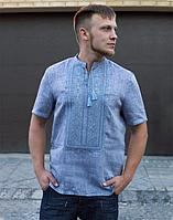 Вышиванка мужская Колос лён светлый джинс короткий рукав