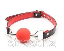 Кляп шар на стальной трубке (красный, черный)