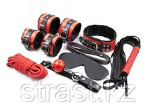 БДСМ-набор Королевский из 7 предметов, красно-черный