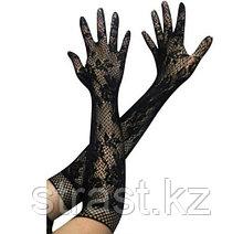 Перчатки-сетка длинные с цветочным принтом