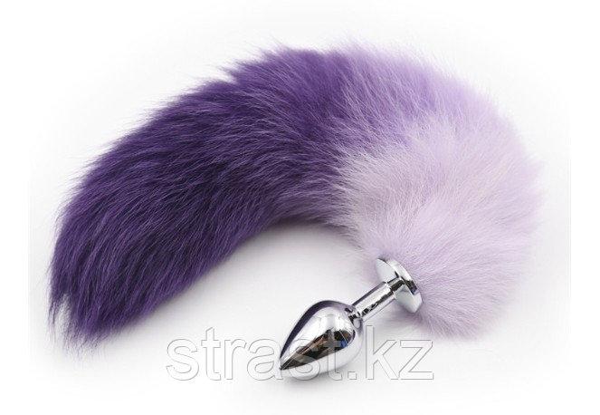 Цветной анальный хвост с металлической втулкой (фиолетовый, розовый)