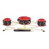 Кожаные наручники с ошейником и зажимами для сосков, фото 2