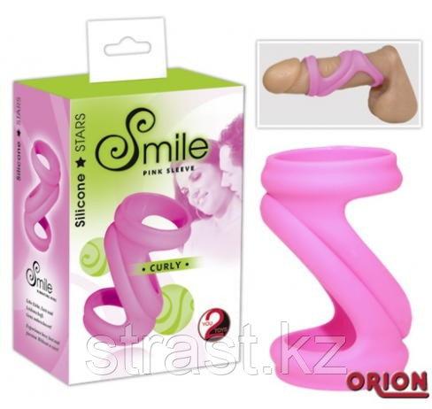 Насадка на пенис Smile Curly Pink (черного цвета)