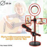 Кольцевая лампа и штатив LED лампа для селфи (3 режима) с держателем для телефона и микрофона 16 см Live Voice