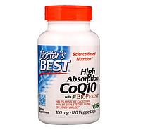 Doctor's Best, Легкоусвояемый CoQ10 с комплексом BioPerine, 100 мг, 120 растительных капсул