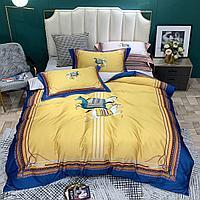 Комплект постельного белья двуспальный HERMES сатин LUX с лошадками