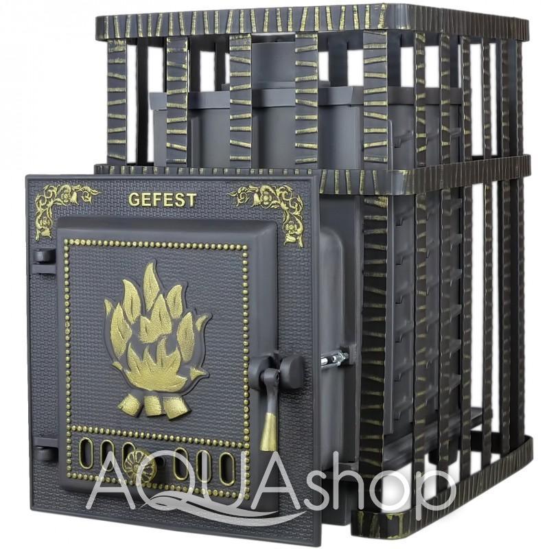 Печь из чугуна Гефест ЗК в сетке 40, для помещений до 40 м3