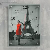 """Часы настенные, серия: Город, """"Девушка в красном платье в Париже"""", 30х40 см, микс"""