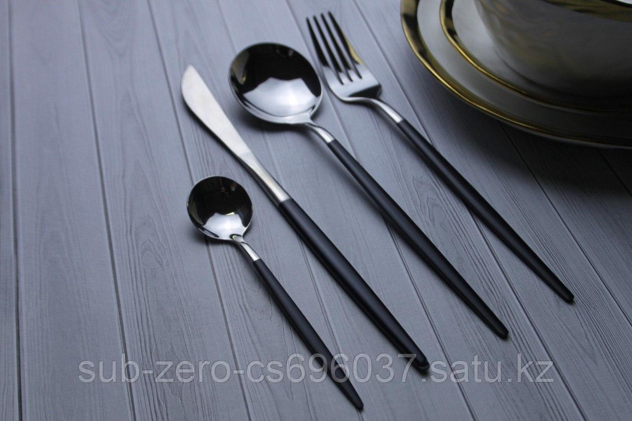 Набор столовых приборов черно-серебристый, 4 предмета