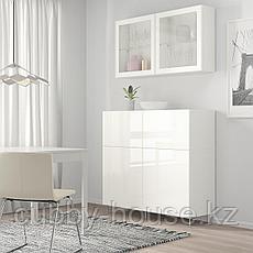 БЕСТО Комб для хран с дверц/ящ, белый СЕЛЬСВ/СТАЛЛАРП, темный красно-коричневый прозрачное стекло, 120x42x240, фото 2