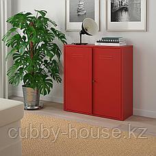 ИВАР Шкаф с дверями, красный, 80x83 см, фото 3