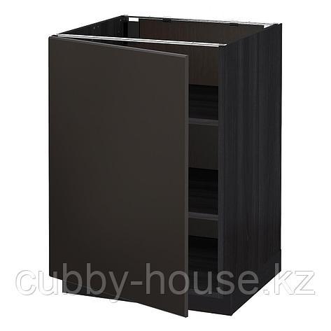 МЕТОД Напольный шкаф с полками, белый, Будбин серый, 20x60 см, фото 2