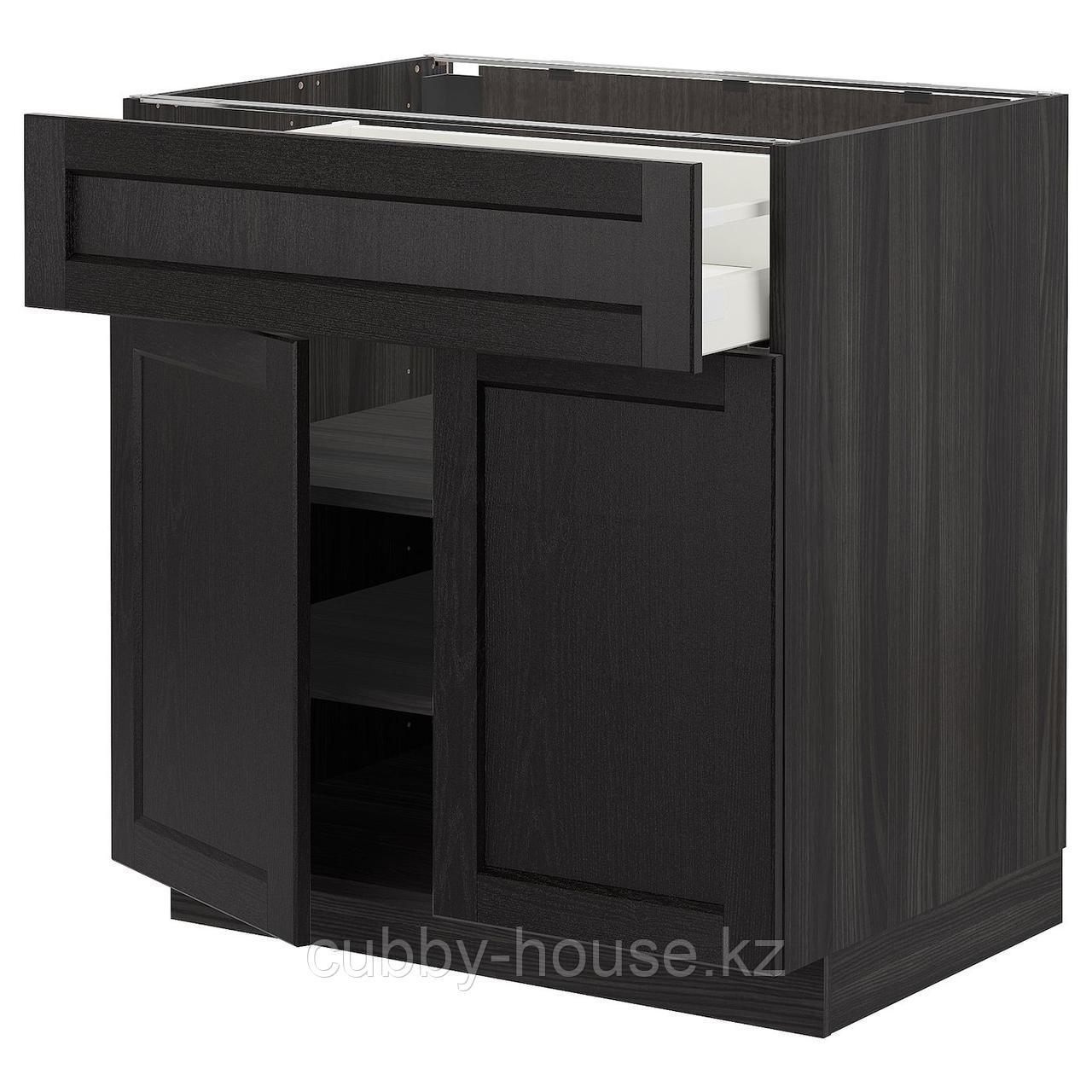 МЕТОД / МАКСИМЕРА Напольный шкаф+ящик/2дверцы, белый, Лерхюттан черная морилка, 80x60 см
