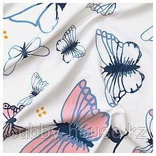 СОНГЛЭРКА Гардины с прихватом, 1 пара, бабочка, белый синий, 120x300 см, фото 2