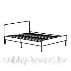 СЛАТТУМ Каркас кровати с обивкой, Книса светло-серый, 140x200 см, фото 2