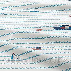 УППТОГ Пододеяльник и 1 наволочка, орнамент «волны/корабли», синий, 150x200/50x70 см, фото 3
