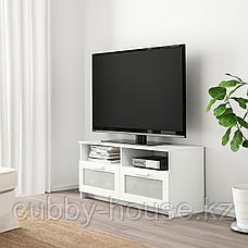 БРИМНЭС Тумба под ТВ, (белый, чёрный) 120x41x53 см, фото 3