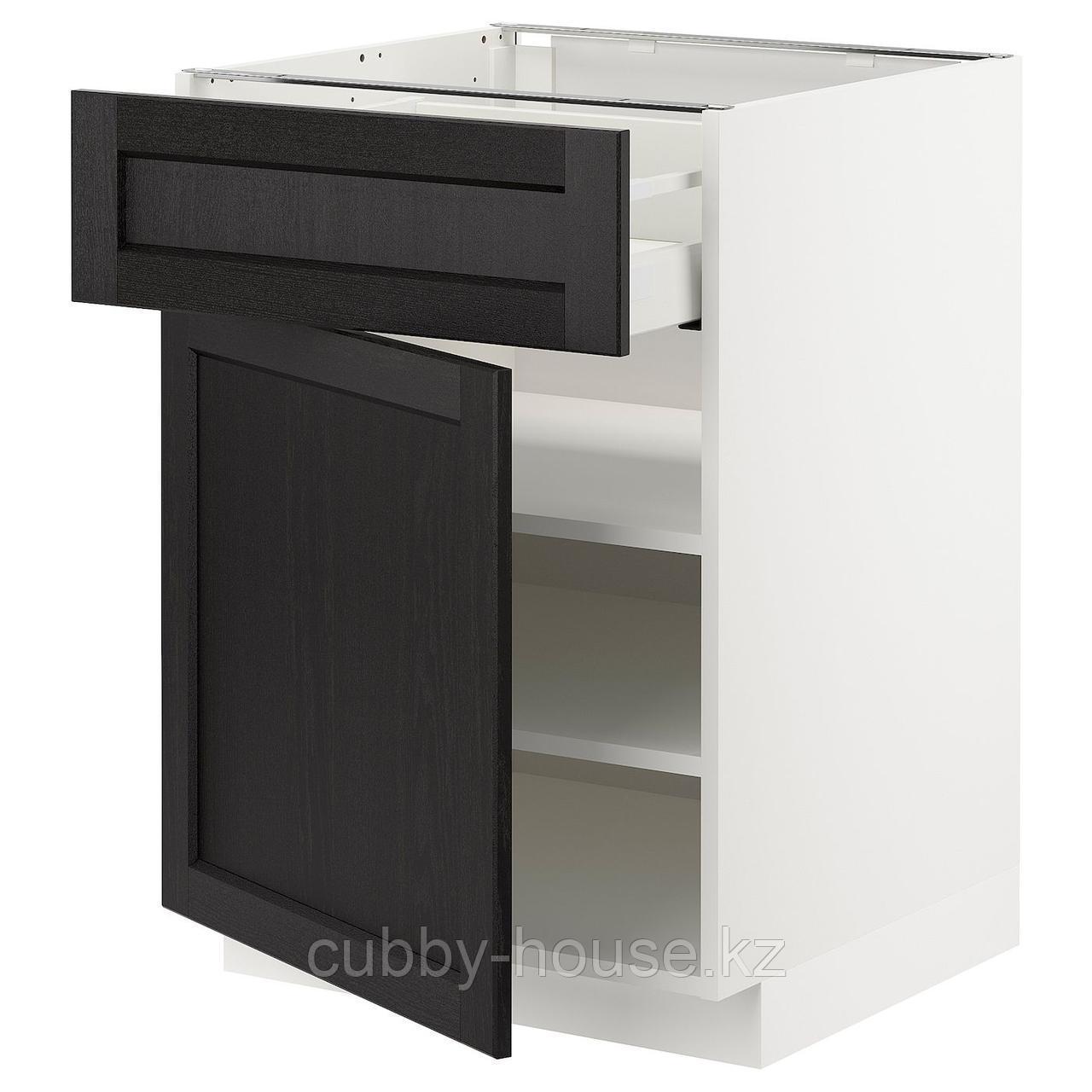 МЕТОД / МАКСИМЕРА Напольный шкаф с ящиком/дверью, черный, Лерхюттан черная морилка, 60x60 см