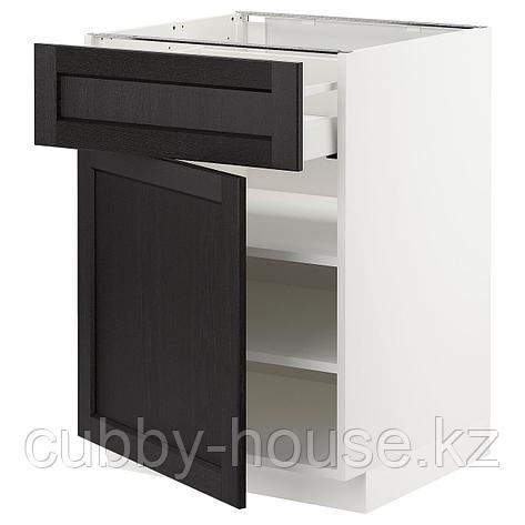 МЕТОД / МАКСИМЕРА Напольный шкаф с ящиком/дверью, черный, Лерхюттан черная морилка, 60x60 см, фото 2