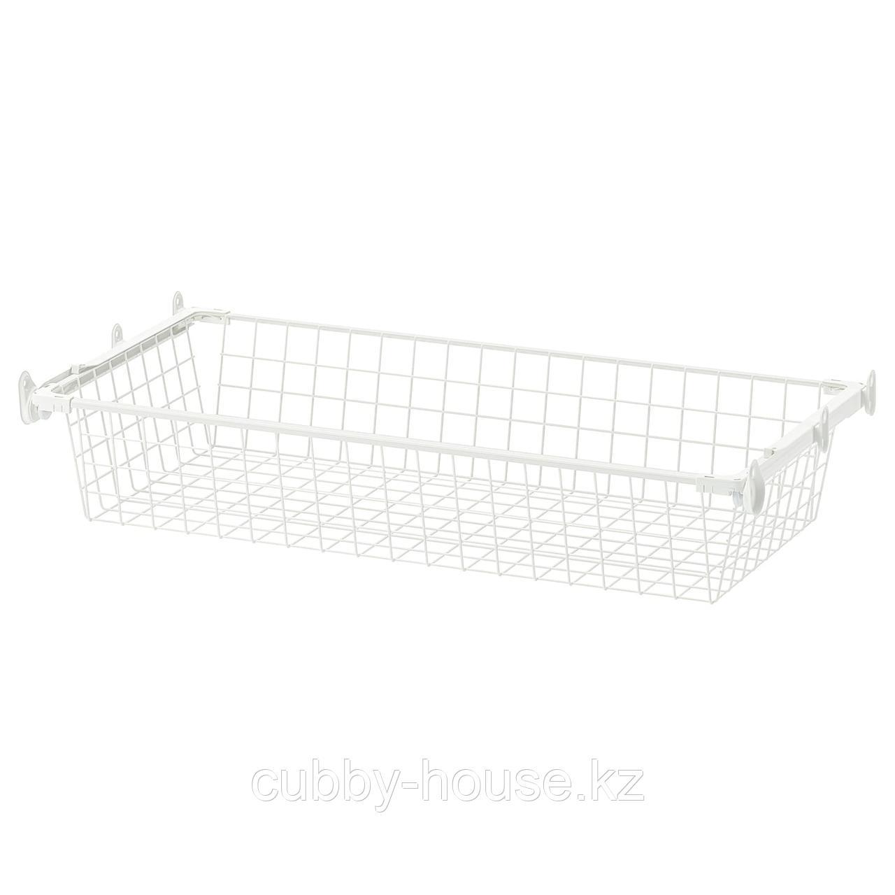 ХЭЛПА Проволочн корзина с направляющими, белый, 60x40 см