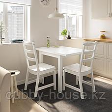 НОРДВИКЕН / НОРДВИКЕН Стол и 2 стула, белый, белый, 74/104x74 см, фото 3