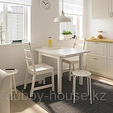 НОРДВИКЕН / НОРДВИКЕН Стол и 2 стула, белый, белый, 74/104x74 см, фото 2