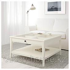 ЛИАТОРП Журнальный стол, белый, стекло, 93x93 см, фото 3