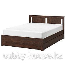 СОНГЕСАНД Каркас кровати с 2 ящиками, белый, Лурой, 140x200 см, фото 2