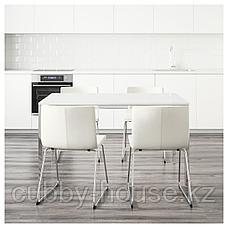 ТОРСБИ / БЕРНГАРД Стол и 4 стула, глянцевый белый, Кават белый, 135 см, фото 3