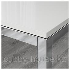 ТОРСБИ / БЕРНГАРД Стол и 4 стула, глянцевый белый, Кават белый, 135 см, фото 2