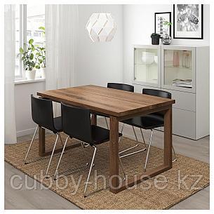 МОРБИЛОНГА / БЕРНГАРД Стол и 4 стула, коричневый, Мьюк темно-коричневый, 140x85 см, фото 2