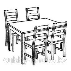 ЙОКМОКК Стол и 4 стула, морилка,антик, фото 3