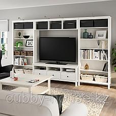 ХЕМНЭС Шкаф для ТВ, комбинация, белая морилка, 326x197 см, фото 3