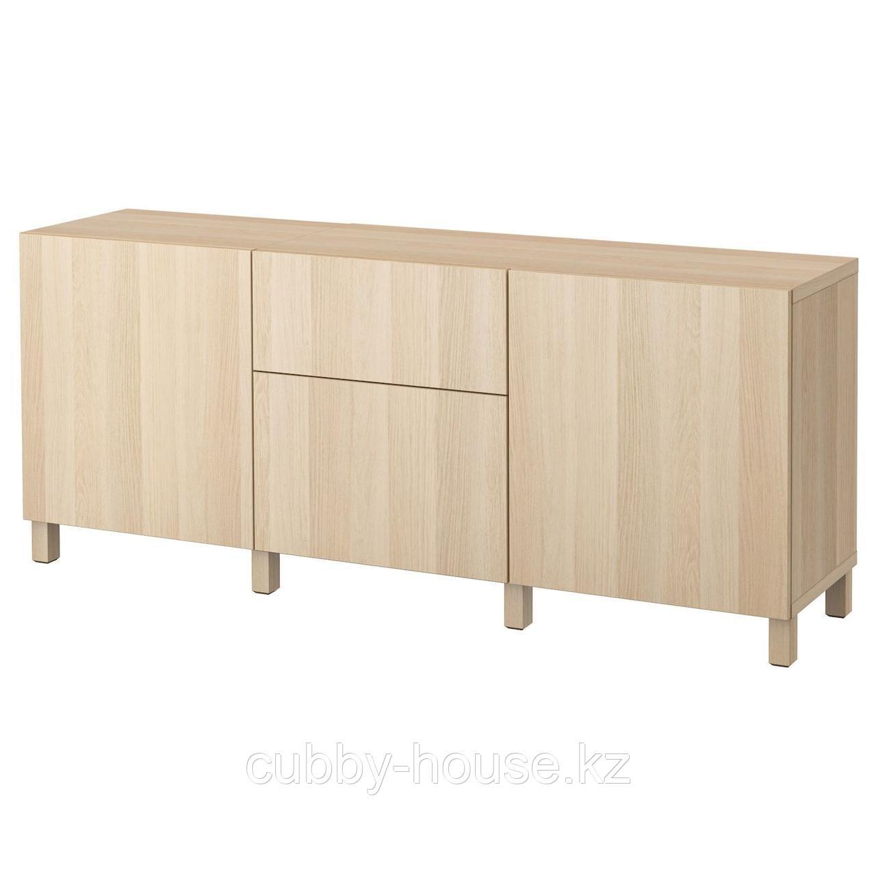 БЕСТО Комбинация для хранения с ящиками, Лаппвикен белый, 180x40x74 см