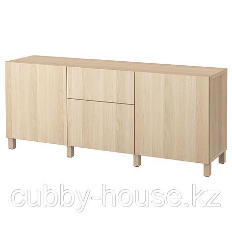 БЕСТО Комбинация для хранения с ящиками, Лаппвикен белый, 180x40x74 см, фото 2