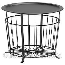 ГУАЛЁВ Столик с отделениями д/хранения, черный, 60 см, фото 2
