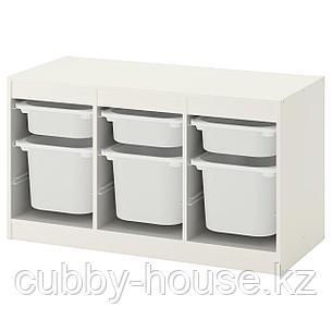 ТРУФАСТ Комбинация д/хранения+контейнеры, белый, белый, 99x44x56 см, фото 2