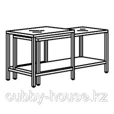 ВИТШЁ Комплект столов, 2 шт, черно-коричневый, стекло, 90x50 см, фото 3