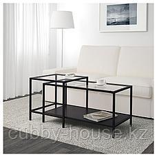 ВИТШЁ Комплект столов, 2 шт, черно-коричневый, стекло, 90x50 см, фото 2